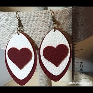Faux Leather Dark Red & White Earrings w/Hearts
